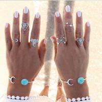Wholesale turquoise elephant ring resale online - Bohemian Style set Vintage Anti Silver Color Rings turquoise Elephant Cross Moon Rings Set for women ZL