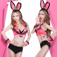 Wholesale Sales Role Play - DS Bunny Costume Cosplay uniform temptation DJ dance clothing nightclub stage hot sale Sexy Adult Role Play pink Ribbon Costume