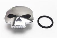 moto cromo negro al por mayor-Cromado negro cráneo tapa del tanque de combustible de la motocicleta para Harley Sportster Dyna Softail FXD FL XL FLT