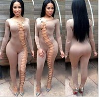 Wholesale Sexy Skinny Dress - 2016 autumn and winter explosion models in Europe and America sexy nightclub Slim long-sleeved jumpsuit metal buckle bandage dress women