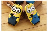 Pour iphone 5 5c 6 Plus 3D mignons Minions méprisable Me2 étui en silicone doux Cartoon Back Smile sourire Big Eye gratuit FEDEX