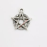 Wholesale Pentacle Charms Wholesale - 20pcs Antique Silver Plated Pentacle Charm Pendants for Bracelet Necklace Jewelry Making DIY Handmade Craft 19x18mm