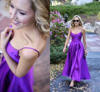 simples vestidos formales de color púrpura al por mayor-Simple Purple Spaghetti Vestidos de noche 2017 Sexy Backless Satin Floor Length Prom vestidos de fiesta de las mujeres desgaste formal