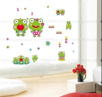 Graphic Vinyl Paper Cartoon Cute Green Frogs Wall Stickers For Bedroom  Bathroom Wall Decor Children Room