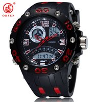 Wholesale Big Round Dial Digital Watches - OHSEN digital Led quartz military mens watch relogio masculino big size dial Rubber strap 50M waterproof red fashion wristwatch Relojoes