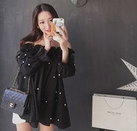 Wholesale Sexy Pearl Blouse - Spring Summer Sexy Women Blouse Pearls Bead Off Shoulder Ruched Puff Long Sleeve Shirt