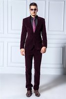 Wholesale Groom Suit Men Popular - Wholesale-Popular Style One Button Velvet Groom Tuxedos Groomsmen Men's Wedding Prom Suits Bridegroom (Jacket+Pants) K:1143