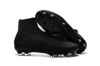 Wholesale Gold Acc - Top Selling 100% Original Mercurial Superfly V All Black Soccer shoes Wholasale football Boots ACC Soccer cleats mens sports shoes