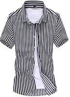 Wholesale Korean Button Down - Wholesale-NQ Men's Vertical Stripe Short Sleeve Korean Button Shirts