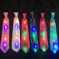 Wholesale Glowing Tie - Halloween LED Ties cotton fashion Sequins Glowing tie Party dress up Children Neck Tie C2564