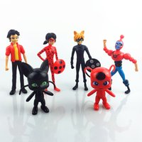 Wholesale lady dolls - Action Figures Toys 6Pcs Miraculous Ladybug 3.5-5.5Inch PVC Lady bug Figures Toys Kids Collection Doll Gift Christmas Gift for children