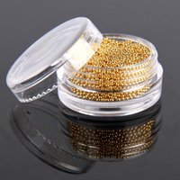 Wholesale Golden Caviar Nail Art - 1800pcs High Quality Gorgeous Golden Silver Color Cute Bean Fashion Nail Art Tips Micro Caviar Beads Decor Manicure