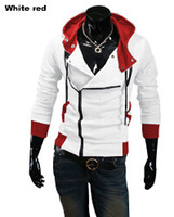 Wholesale Assassins Creed White Jacket - Plus Size 2016 New Fashion Stylish Mens Assassins Creed 9 Desmond Miles Costume Hoodie Cosplay Coat Jacket free shipping