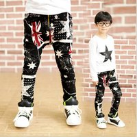 Wholesale Teen Spandex - Fashion City teen-agers boy spring and summer trend spandex flag star printed stretch jeans for men printed skinny black pants