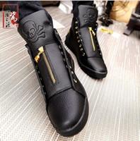 Wholesale Mens Hip Hop Shoes - 2016 Sales Designer Shoes Men High Quality Hip Hop Shoes Skull Mens Shoes Casual Luxury Brand Famous Leather Tops Black White