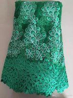 Wholesale Organza Wedding Embroidered Lace Fabric - Embroidered Organza Lace Fabric, retro floral lace, Green African cotton embroidered lace fabric, wedding bridal dress