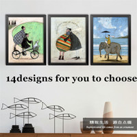 10pcs / lot Northern Europe Style Wall Art Decor Painting Cartoon Modern Bar Restaurant Retro Abstract Canvas Oil Painting Home Decor