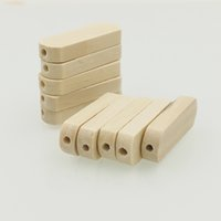 Wholesale Wholesale Flat Wood Beads - 200 x 30mm natural wood beads long jar shaped bead wood bar side hole baby teething toy DIY jewelry finding pattern EA20