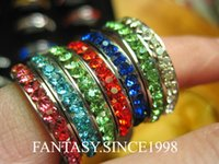 Wholesale Wholesale Row Ring - wholesale mixed lots 36pcs one row cz stone colorful women's 4mm fashion stainless steel rings brand new