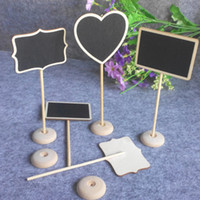 Wholesale Blackboard Table - Wholesale-500Pcs lot Mini Wooden Wood Chalkboard Blackboard On Stick Stand Place Card Holder Table Number for Wedding Event Decoration