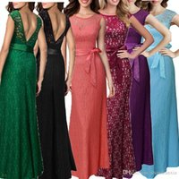 Estate donne da sera elegante promenade del partito di Sundress tunica pizzo floreale maxi Backless abito di moda signora Clothes Abiti da sposa Ball Gown