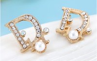 Wholesale Gold Rhinestone Numbers Letters - Wholesale 2016 New Jewelry Gold Plated Alloy Crystal Rhinestone letter Stud Earrings High Quality Free Shipping