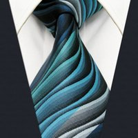 Wholesale Multicolor Yarns - Y23 Turquoise Multicolor Ripple Abstract Classic Silk Extra Long Size Mens Necktie Tie