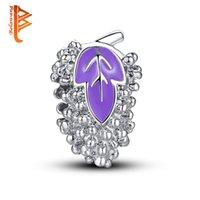 Wholesale Grape Bracelets - BELAWANG Purple Enamel Grape Shape Charm Beads Silver Plated Loose Beads Fit Charm Bracelets&Bangles DIY Jewelry Making Free Shipping