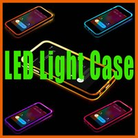 Wholesale Light Led Battery Clear - LED Light Cases iphone 5 5s SE 6 6s 7 plus Samsung note 3 4 S6 S7 edge Hybrid incoming calls flash Up Case