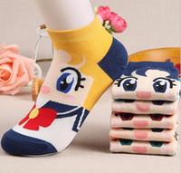 Wholesale Cute Animal Socks - sailor moon venus jupiter mars mercury chibiusa women's short tube socks cartoon cotton socks Cute ankle female sock