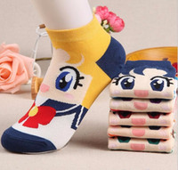 Wholesale sailor moon venus jupiter mars mercury chibiusa women s short tube socks cartoon cotton socks Cute ankle female sock