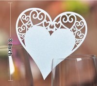 Wholesale Table Shape Cutting - White Laser Cutting Glass Cards Wedding Decoration 100 piece   lot Pretty hearts Shaped Wedding table Seat Cards Wedding Party Decoration