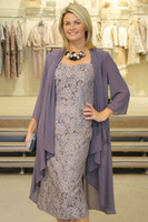 Wholesale long sleeve tea length sheath dress - 2016 lace Tea Length Fall New Gray Plus Size Mother Of The Bride Dresses With Jackets