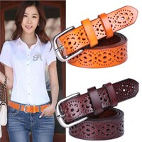 Wholesale Wholesale Leather Belts Women - New Women Fashion Wide Genuine Leather Belt Woman Without Drilling Luxury Jeans Belts Female Top Quality Straps Ceinture Femme