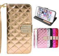 Wholesale Galaxy S4 Luxury Wallet Gold - Galaxy Note5 S6 S7 edge Luxury Diamond Rhinestones Wallet Case For iPhone 6 Plus 5 5S SAMSUNG GALAXY S4 S5 Note5 S7 edge