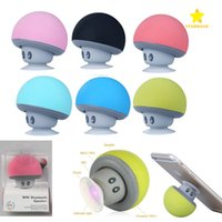 Wholesale tablet lovely online – Lovely Mini Mushroom Car speaker Subwoofer Bluetooth Wireless Speaker Silicone Sucker Phone Tablet Computer Stand with Retail Package