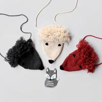 Wholesale Handmade Sweaters Children - Korean Fashion Handmade Baby Girls Bags Cartoon Fox Sweater Knit Messenger Bag Cute Girl Mini Bag Children Shoulder Bags Gold Silver A7722