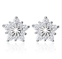 Wholesale Christmas Star Stud - Christmas Snowflake Stud Earrings Created Gemstone Natural Stone Ear Jewelry Big Five Star Women Wedding Stud Earrings Silver Jewelry New