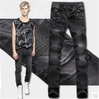 Wholesale Soft Mens Jeans - New Arrival Mens Jeans Solid Color Straight Draped Jeans for Men Soft Denim for Spring and Autumn jeans-003