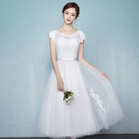 Off White Wedding Dresses Tea Length Lace Top Pleats Tulle с аппликацией Lace-up / Zipper Back Bridal Gowns Дешевые
