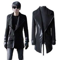 Wholesale Mens Black Xxl Trench Coat - Fall-2016 New Mens Punk Pu Leather Sleeves Wool Jacket Coat Trench Parka Padded Black Plus Size M L XL XXL XXXL H6972