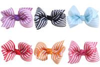 Wholesale Stripe Ribbon Hair Bows - 20pcs Boutique 10colors 3 inch grosgrain stripe ribbon bow hair accessories bowknot with alligator clip hair bobbles ties HC032