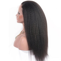 Wholesale Real Hairstyles - Natural color 360 wig kinky straight real hair Wave Hair Weft Full lace Brazilian Remy Human Hair with Unprocessed