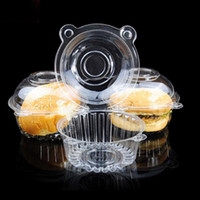Fournitures de cuisson Hot Tools 50PCS en plastique transparent unique Cupcake Gâteau Case Muffin Dome Holder Box Container Dosettes Party de Noël commander 18Personne $ tra