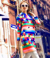 Wholesale women s trench coat pattern - New european design women's British England style double breasted rainbow gradient colorful plaid grid long trench coat abrigos