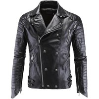 Wholesale Mens Leather Jacket Real Fur - Fall-Mens Skull Motorcycle 5XL Real Leather Jackets Vintage Retro DK Punk Style Dsl Male Winter Faux Fur Coats Biker Suede Jacket Men