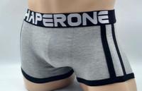 roupa interior masculina sexy masculina venda por atacado-New fine CHAPERONE cueca boxers mens calções de algodão sexy Cuecas de cintura baixa homens underwear boxer barato sheer cuecas panti 3 peças / lote