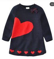 Wholesale Blue Lolita Dress Long Sleeves - Kids Dress Children's Girls Winter Spring Heart Sweater Dresses Girl Princess Long Sleeve Knitted Dresses 5 Pcs Lot B