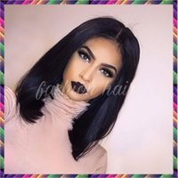 Wholesale Short Bobbed Hairstyles - 8A Glueless Full Lace Human Hair Bob Wigs For Black Women Brazilian Virgin Hair Straight Short Bob Lace Front Bob Cut Wigs