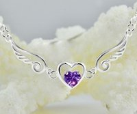 Wholesale necklace 925 heart angel for sale - Group buy 925 Silver Plated Angel Wings Necklace Chain Necklace Heart Pendant Necklace Wings Heart Necklaces Gift For Women Christmas Gift